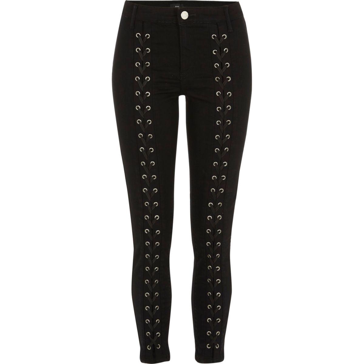 Molly - Zwarte skinny jeans met vetersluiting voor