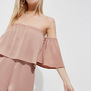 Petite blush pink layer bardot playsuit