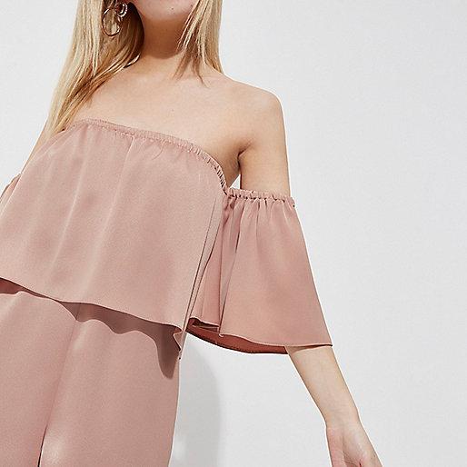 Petite blush pink layer bardot romper