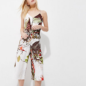 Petite – Combinaison jupe-culotte caraco à fleurs
