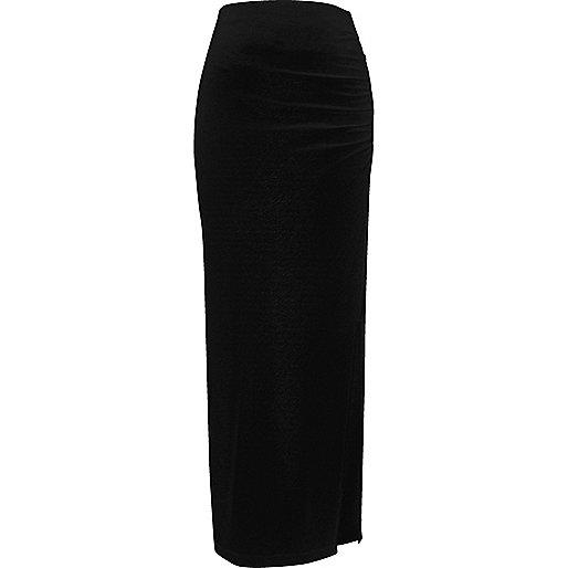 Jupe longue en jersey noire froncée