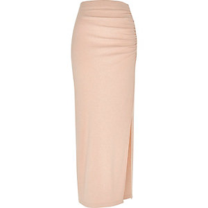 Light pink jersey ruched maxi skirt