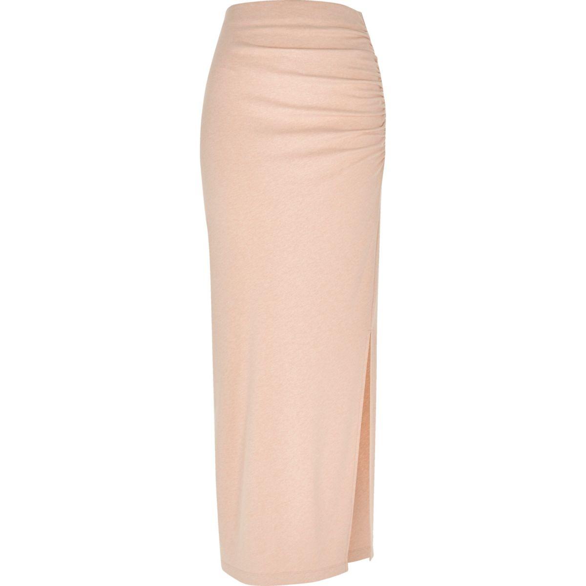 Light pink jersey ruched maxi skirt