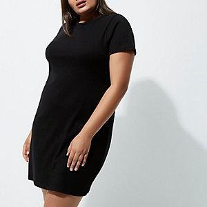 RI Plus - Zwarte jurk met vetersluiting op de rug en korte mouwen