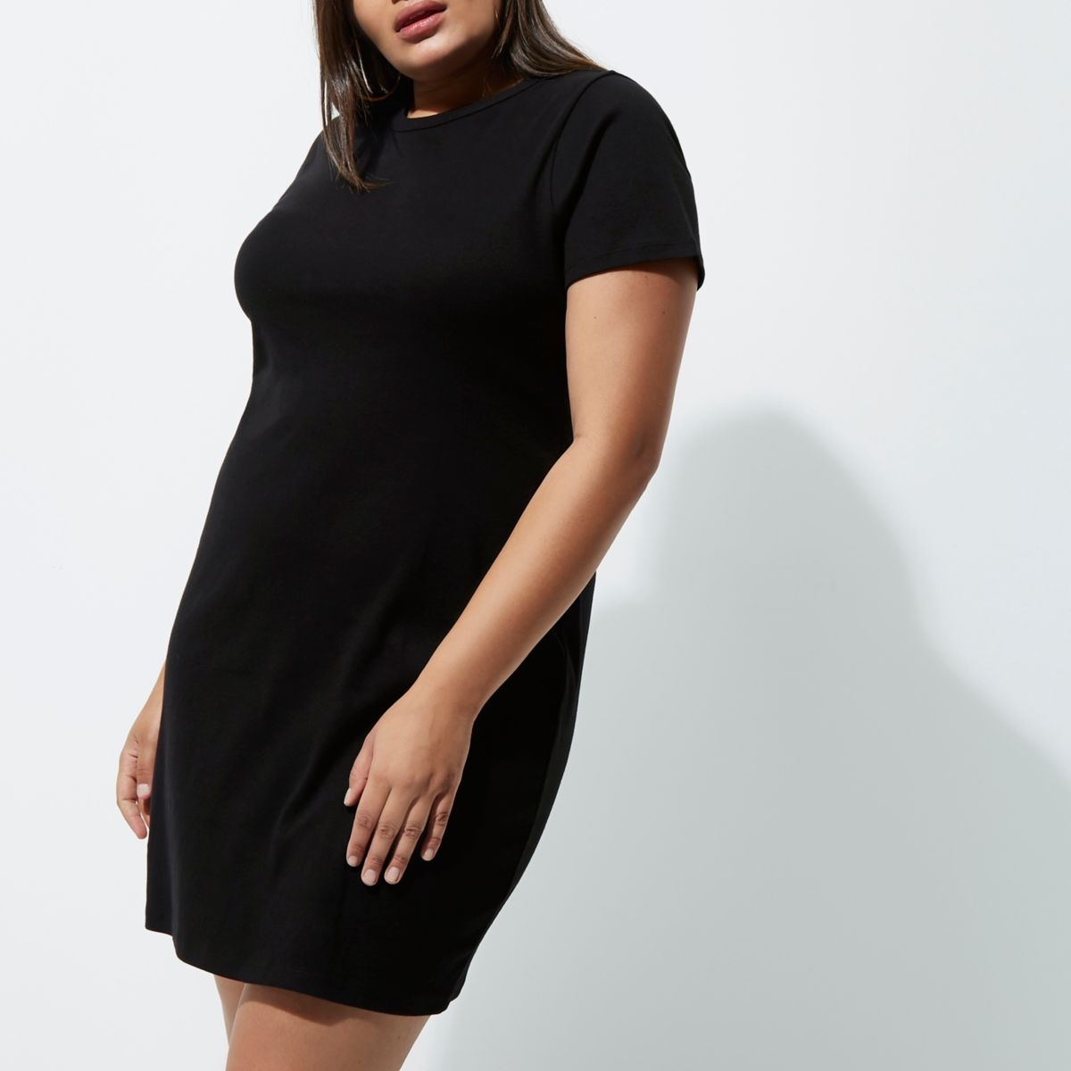 Plus black lace-up back short sleeve dress