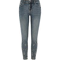 Alannah - Blauwe geborduurde relaxte skinny jeans