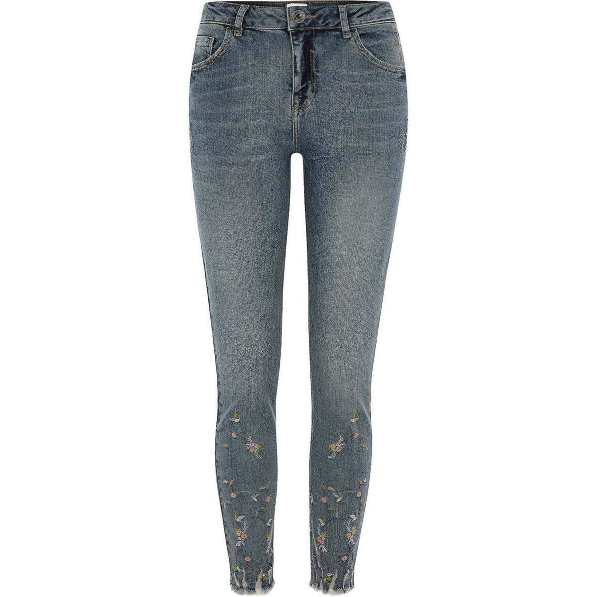 Blue alannah embroidered relaxed skinny jeans