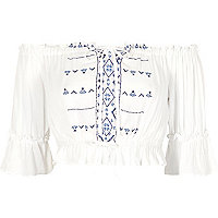 White embroidered bardot top