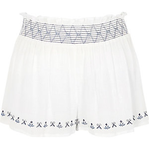 White shirred waist beach shorts