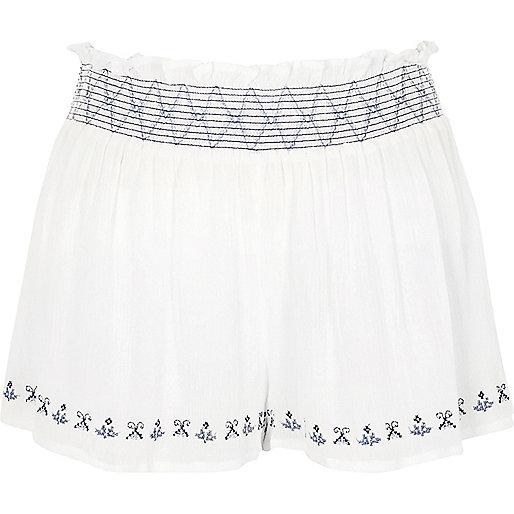 White shirred waist beach shorts