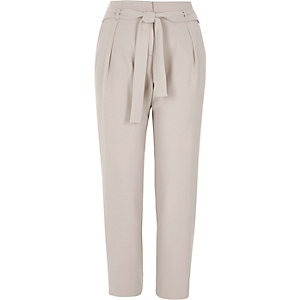 Light grey tie waist tapered trousers