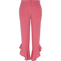 Pink frill hem straight leg cropped trousers