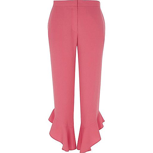 Pink frill hem straight leg cropped trousers
