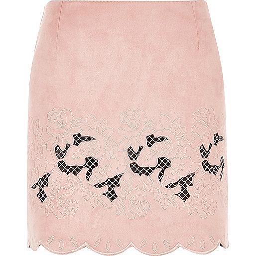 Pink floral embroidered scalloped hem skirt
