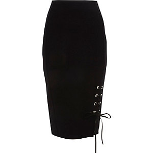 Black lace-up eyelet hem pencil skirt