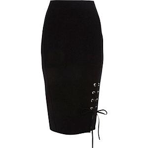 Black lace-up eyelet hem pencil skirt
