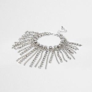 Bracelet argenté avec chaîne, pampilles et strass