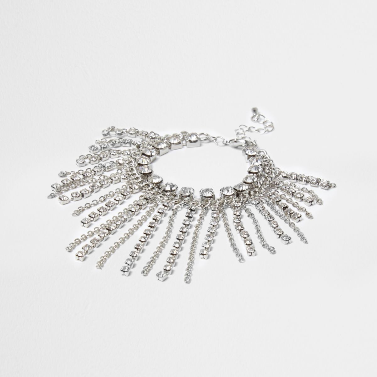 Silver cup chain tassle rhinestone bracelet