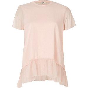 Light pink mesh peplum hem T-shirt