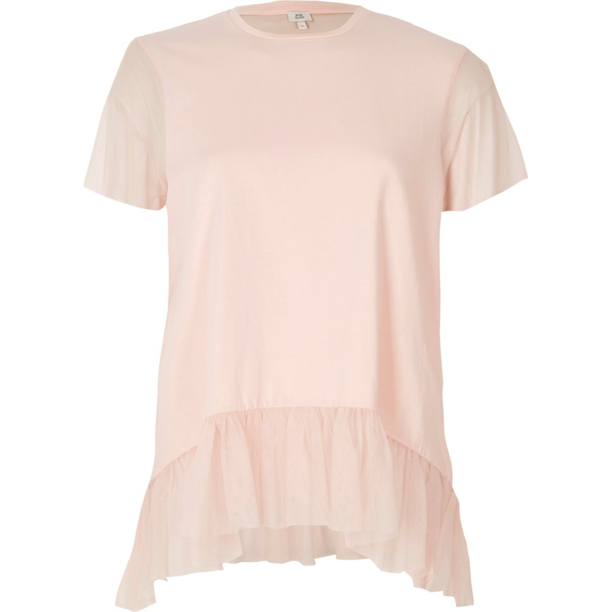 Light pink mesh peplum hem T-shirt