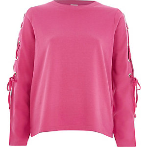 Pink lace-up sleeve sweatshirt