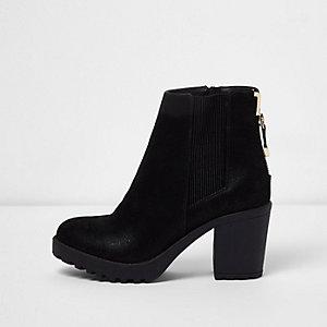 Tricotés Bottes De Chaussures Noires Avec Zip FnQY5