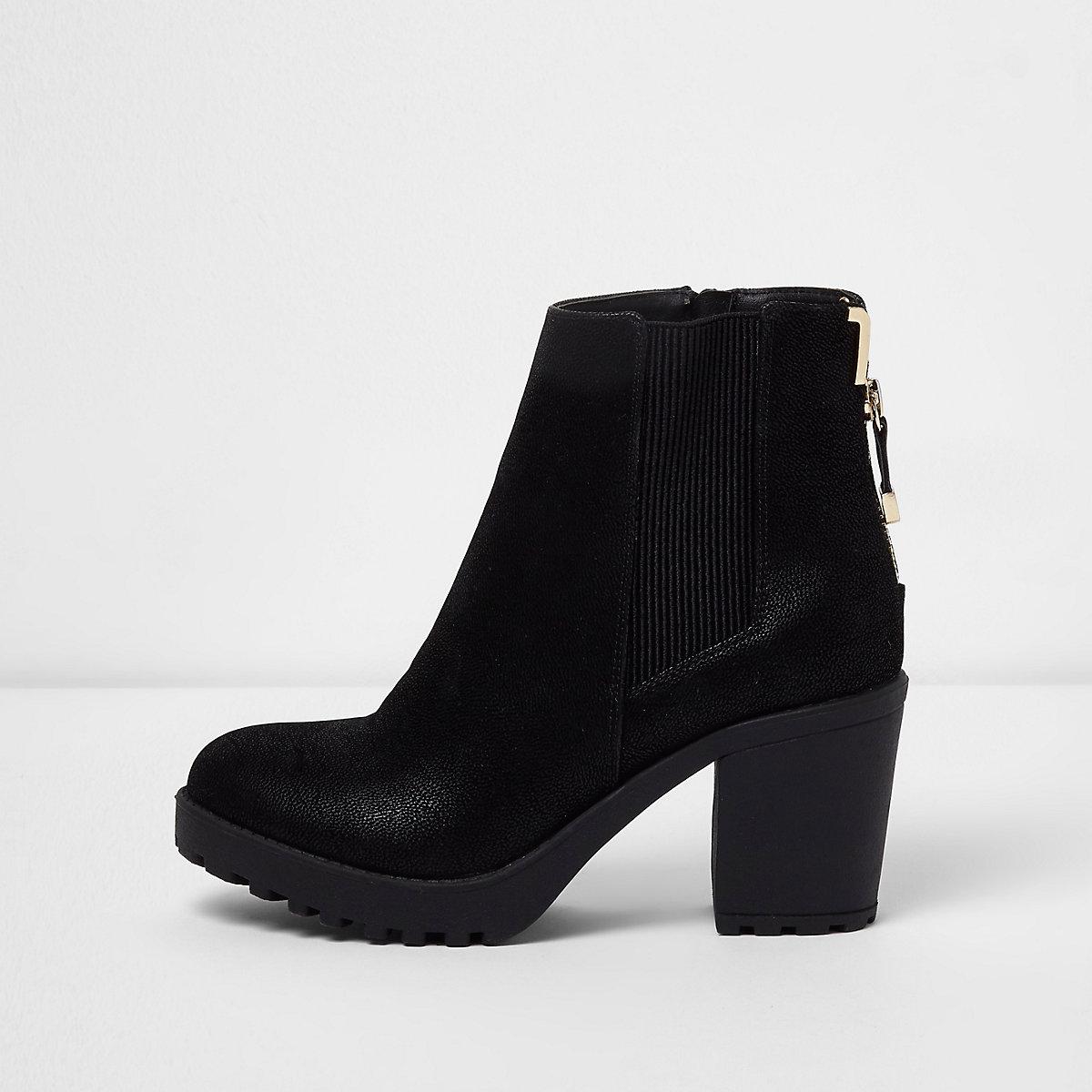 Black zip back heeled boots