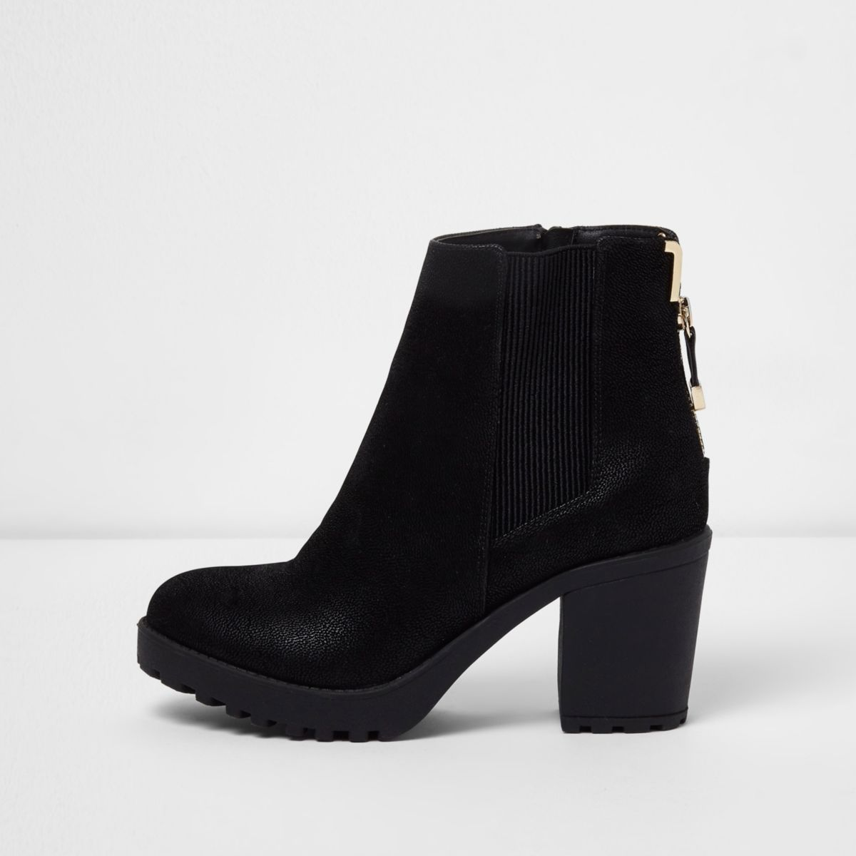 Black zip back heeled boots