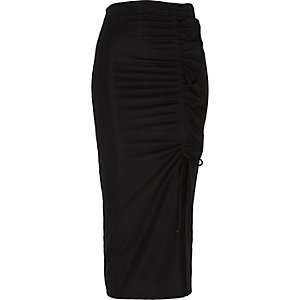 Black ruched side split pencil skirt