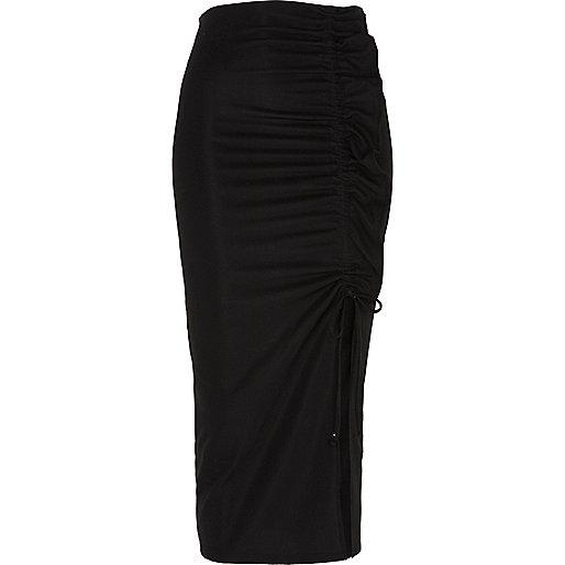 Black ruched side split pencil skirt