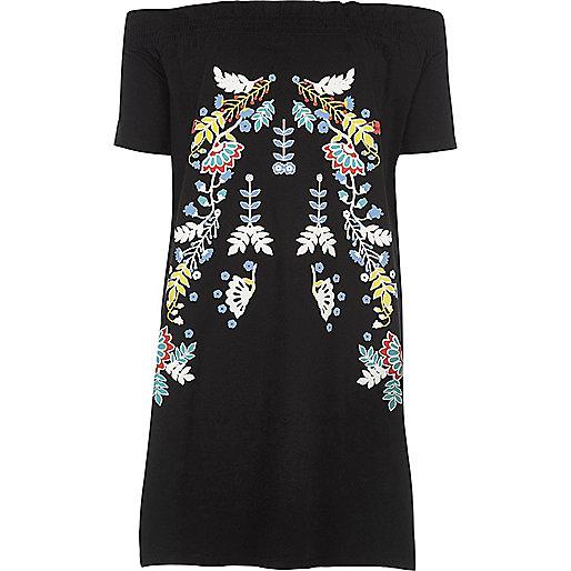 Black floral print oversized bardot top