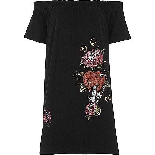 Black floral heart oversized bardot T-shirt