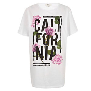 White 'California' print longline T-shirt