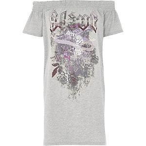 T-shirt long Bardot imprimé alive gris