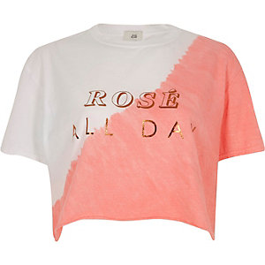 White 'rose all day' print cropped T-shirt