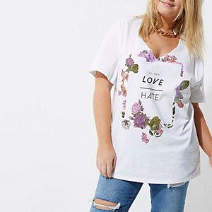 Plus – Weißes Boyfriend T-Shirt mit Blumenmuster
