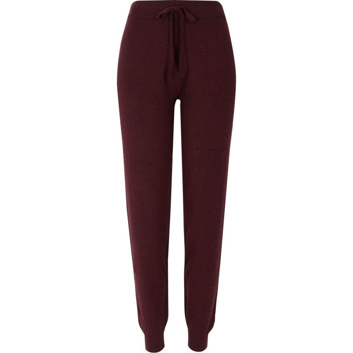 Burgundy knitted joggers