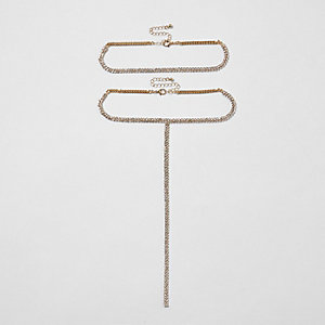 Gold tone diamante plunge choker pack