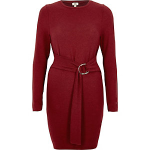 Berry ring tie long sleeve sweater dress