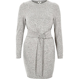 Grey ring tie long sleeve sweater dress