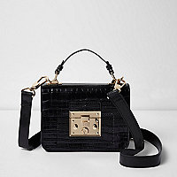 Black patent croc lock front cross body bag