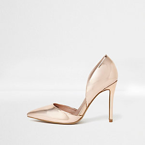 Gold patent two part court shoes