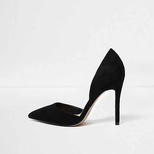 Black two part pumps