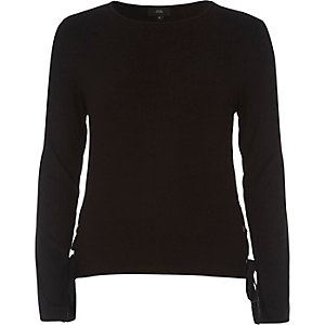 Black jersey tie side long sleeve top