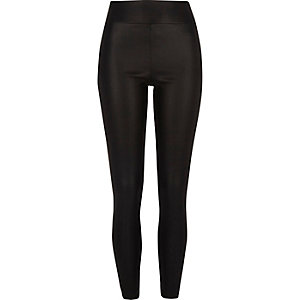 Black cracked coated leather look leggings