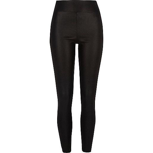 Black cracked coated leather look leggings