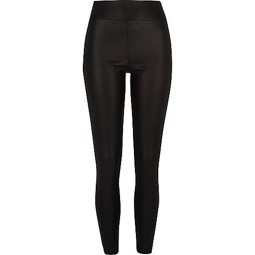 Zwarte legging met cracked coating in leerlook