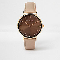Brown Elie Beaumont leather strap watch