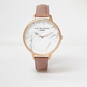 Elie Beaumont – Pinke Armbanduhr mit Lederarmband