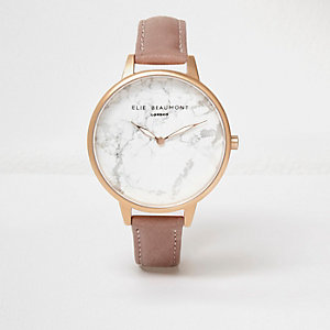 Elie Beaumont – Montre rose à bracelet en cuir